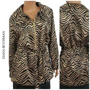 Dana Buchman Animal Print Zip Jacket XL